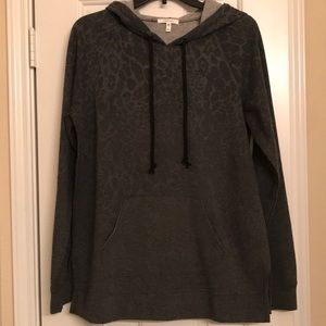 Maurices gray leopard print hoodie